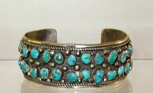 Navajo Sterling Cuff with 38 Turquoise Stones