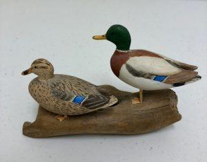 Carved miniature Mallard Ducks