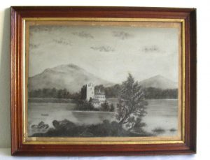 19th C. Hudson River School, Charcoal on Sandpaper