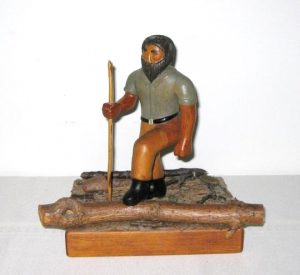 Carved Woodsman Figure