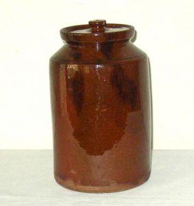 Covered Redware Jar
