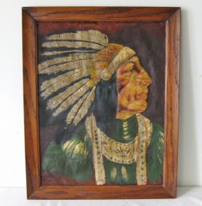 Native American Portrait on Leather