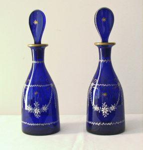 Pair Cobalt Enameled Decanters