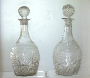 19th C.Pair of Blown 3-mold Decanters