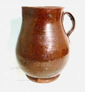 "Larger Redware Pitcher with Bulbous Body — 8 1/4"" Tall"