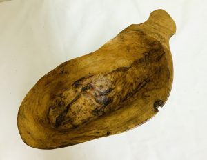 Early Extra Large Free Form Carved Maple Canoe Cup