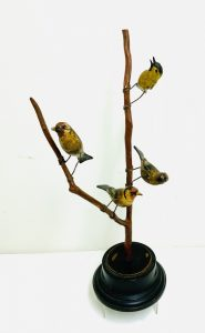 Colorful Carved Wood Bird Tree with 4mCarved Birds.