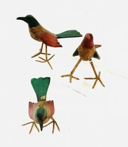 Group of 3 Small Carved Wood Paint Decorated Birds