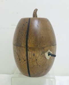 Mid-19th. C. Mellon Form Wood Tea Caddy