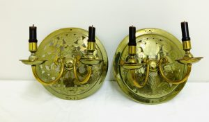 "Pair of Creative ""Make Do"" Brass Wall Sconces"