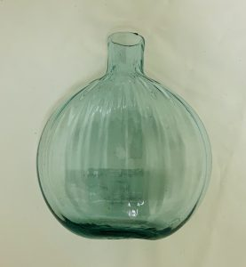 Midwestern C. 1830 Vertically Ribbed Blown Molded Pocket Flask