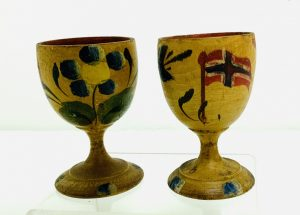 Pair Norwegian Immigrant Paint Decorated Egg Cups
