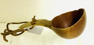 Old Canoe Cup with Deep Carved Egg Shaped Bowl and Long Carved Curved Handle