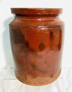 "19th. C. Redware Jar —- 8 1/2"" Tall"