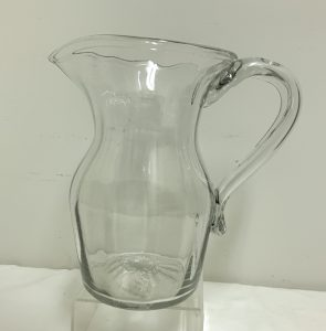 """Large Early American Blown Molded Pitcher - 8"""" Tall"""