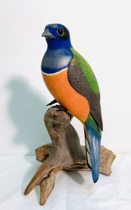 "Exceptionally Well Carved ""Gartered Trogan"" Bird by Harry Ross (1933-2014)"