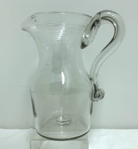 """Large Early American Blown and Tool Worked Pitcher - 8 7/8"""" Tall"""