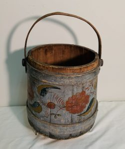 Early Wood Firkin with Original Paint and Paint Decorations