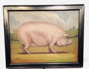"""Folky Painting of a Large Pig/Hog Named """"Rose"""""""