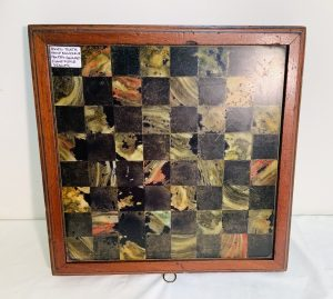 Slate Game Board with Original Mahogany Boxed Frame Enclosure and Pieces Drawer