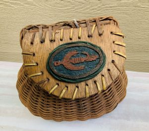 Vintage Decorated Wicker Fishing Creel