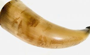 Small Profusely Scrimshawed Powder Horn