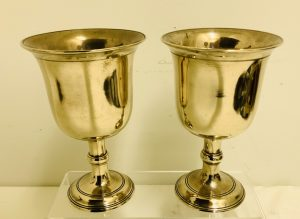 Pair of 18th - Early 19th C. Brass Goblets