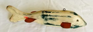 """Huge Old """"White Fish"""" Working Ice Fishing Spearing Decoy"""