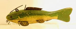 Larger Dark Green and Yellow Cat Fish Ice Fishing Spearing Decoy